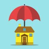 Ομπρέλα που προστατεύει το σπίτι διανυσματική απεικόνιση