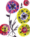 Ομπρέλες εγγράφου απεικόνισης με μορφή των λουλουδιών ελεύθερη απεικόνιση δικαιώματος