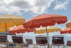 Ομπρέλες παραλιών του ST Maarten Philipsburg Στοκ Φωτογραφίες
