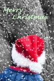 ΟΜΠ χειμερινών Χριστουγέννων με το κόκκινο δειγμένο καπέλο και την κειμενική επιθυμία Χριστουγέννων Στοκ Εικόνες