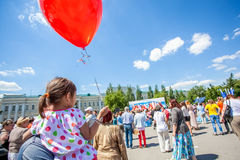 Ομσκ, Ρωσία - 12 Ιουνίου 2015: Εορτασμός ημέρας Russiuan Στοκ Εικόνες