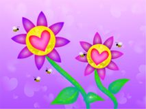 ονειροπόλος βαλεντίνος λουλουδιών ελεύθερη απεικόνιση δικαιώματος