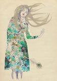 Ονειροπόλος γυναίκα διανυσματική απεικόνιση