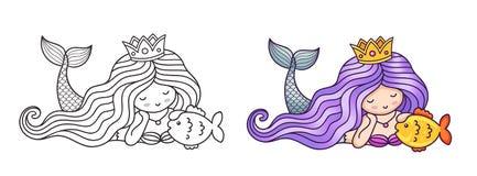 Ονειροπόλος να βρεθεί γοργόνα πριγκηπισσών, χρυσά ψάρια κτυπήματος απεικόνιση αποθεμάτων