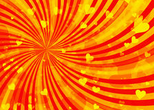 Ονειροπόλες ελαφριές καρδιές στα υπόβαθρα ακτίνων ήλιων Στοκ φωτογραφία με δικαίωμα ελεύθερης χρήσης