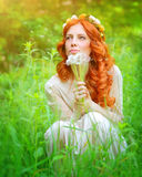 Ονειροπόλο κορίτσι με μια ανθοδέσμη πικραλίδων Στοκ Εικόνες