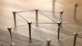 Οντότητες σύνδεσης Δίκτυο, δικτύωση, κοινωνικά μέσα, περίληψη επικοινωνίας Διαδικτύου Ιστός των χρυσών καλωδίων στο αγροτικό ξύλο Στοκ Εικόνες