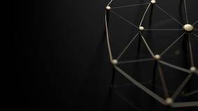 Οντότητες σύνδεσης Δίκτυο, δικτύωση, κοινωνικά μέσα, περίληψη επικοινωνίας Διαδικτύου Ιστός των χρυσών καλωδίων στο μαύρο έδαφος Στοκ Εικόνες