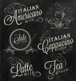 Ονόματα αφισών των ποτών καφέ. Κιμωλία. διανυσματική απεικόνιση