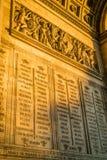 Ονόματα αψίδων θριάμβου στο Παρίσι Στοκ Φωτογραφία