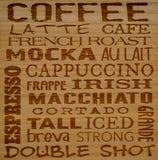 Ονόματα καφέ Στοκ εικόνα με δικαίωμα ελεύθερης χρήσης