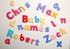 Ονόματα μωρών που συλλαβίζουν με τις επιστολές αλφάβητου Στοκ Εικόνα