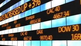 Ονόματα παγκόσμιων σημαντικών χρηματιστηρίων, αποσπάσματα αγοράς που τρέχουν στο ηλεκτρονικό τηλέτυπο ελεύθερη απεικόνιση δικαιώματος