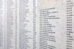 Ονόματα πορτογαλικού του στρατιωτικού πεσμένος στον αφρικανικό αποικιακό πόλεμο Στοκ φωτογραφία με δικαίωμα ελεύθερης χρήσης