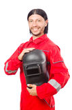 Οξυγονοκολλητής στις κόκκινες φόρμες Στοκ φωτογραφία με δικαίωμα ελεύθερης χρήσης