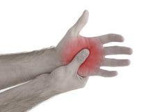 Οξύς πόνος σε έναν φοίνικα ατόμων. Αρσενικό χέρι εκμετάλλευσης στο σημείο του φοίνικας-πόνου στοκ εικόνα