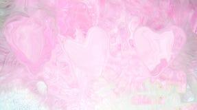 οπίσθια απεικόνιση των ρόδινων καρδιών σε μια ρόδινη αφαίρεση υποβάθρου μόλις ορατή Στοκ Φωτογραφίες