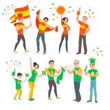 Οπαδοί ποδοσφαίρου στο Παγκόσμιο Κύπελλο διανυσματική απεικόνιση