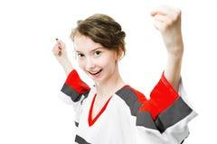 Οπαδός αθλήματος στο Τζέρσεϋ στην κόκκινη, γκρίζα ευθυμία χρωμάτων, στόχος εορτασμού στοκ εικόνα με δικαίωμα ελεύθερης χρήσης