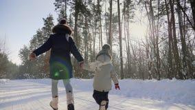 Οπισθοσκόπος δύο μικρών παιδιών που τρέχουν μακριά σε έναν χιονώδη δρόμο απόθεμα βίντεο
