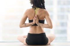 Οπισθοσκόπος της γυναίκας στο μισό Lotus θέστε με το mudra Στοκ φωτογραφία με δικαίωμα ελεύθερης χρήσης