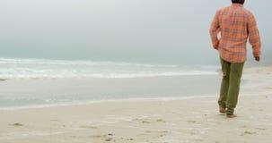 Οπισθοσκόπος του ενεργού ανώτερου ατόμου αφροαμερικάνων με παραδώστε την τσέπη περπατώντας στην παραλία 4k απόθεμα βίντεο