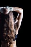 Οπισθοσκόπος του θηλυκού μπόξερ με τη μακριά καφετιά τρίχα Στοκ εικόνα με δικαίωμα ελεύθερης χρήσης