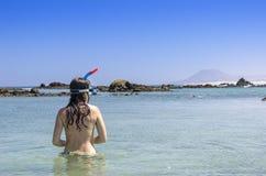 Οπισθοσκόπος του brunette η φθορά γυναικών κολυμπά με αναπνευτήρα και καλύπτει το κοίταγμα Στοκ Φωτογραφίες
