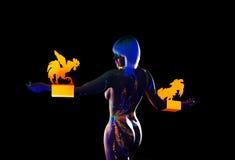 Οπισθοσκόπος του nude προτύπου με το σχέδιο disco στο σώμα Στοκ Φωτογραφία
