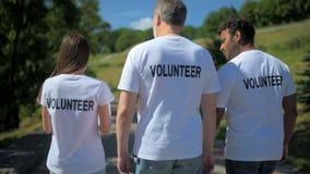 Οπισθοσκόπος των multiethnic εθελοντών που περπατούν στο πάρκο απόθεμα βίντεο