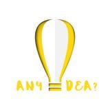 Οποιαδήποτε ιδέα; διατύπωση με τη λάμπα φωτός Στοκ εικόνες με δικαίωμα ελεύθερης χρήσης