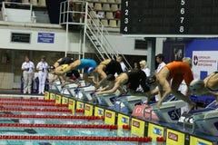 Οπτικές θέσεις στην πισίνα ολυμπιακή στη Μόσχα Στοκ Φωτογραφίες