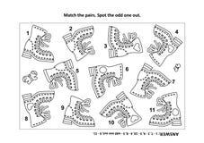 Οπτικός γρίφος λογικής και χρωματίζοντας σελίδα με τις μπότες απεικόνιση αποθεμάτων