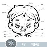 Οπτικό λεξικό για το ανθρώπινο σώμα Τα επικεφαλής μέρη μου για ένα αγόρι Στοκ φωτογραφία με δικαίωμα ελεύθερης χρήσης