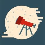 Οπτικό τηλεσκόπιο που παρατηρεί τα αστέρια στο επίπεδο ύφος κύκλων Στοκ Φωτογραφία