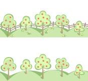 Οπωρωφόρα δέντρα στα οριζόντια άνευ ραφής σύνορα Στοκ εικόνα με δικαίωμα ελεύθερης χρήσης