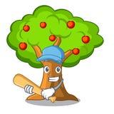 Οπωρώνας μήλων μπέιζ-μπώλ παιχνιδιού με το καλάθι των κινούμενων σχεδίων απεικόνιση αποθεμάτων