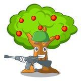 Οπωρώνας μήλων στρατού με το καλάθι των κινούμενων σχεδίων ελεύθερη απεικόνιση δικαιώματος