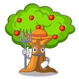 Οπωρώνας μήλων της Farmer με το καλάθι των κινούμενων σχεδίων διανυσματική απεικόνιση