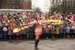 Ορέλ, Ρωσία - 13 Μαρτίου 2016: Maslenitsa, φεστιβάλ τηγανιτών Στοκ Εικόνες