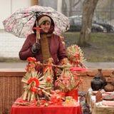 Ορέλ, Ρωσία - 13 Μαρτίου 2016: Maslenitsa, φεστιβάλ τηγανιτών Wom Στοκ Εικόνες