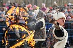 Ορέλ, Ρωσία - 26 Φεβρουαρίου 2017: Φακίρης φεστιβάλ Maslenitsa και cro Στοκ εικόνα με δικαίωμα ελεύθερης χρήσης