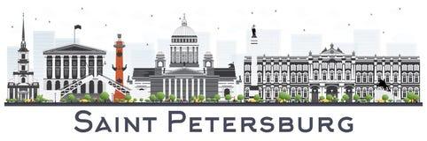 Ορίζοντας Αγίου Πετρούπολη με τα κτήρια χρώματος που απομονώνονται στο λευκό απεικόνιση αποθεμάτων