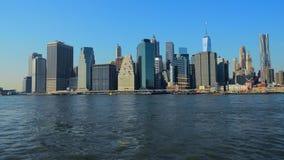 Ορίζοντας Μανχάταν NYC πόλεων της Νέας Υόρκης κράτη που ενώνονται απόθεμα βίντεο