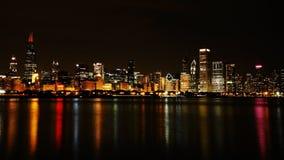 Ορίζοντας νύχτας πόλεων του Σικάγου Στοκ Εικόνες