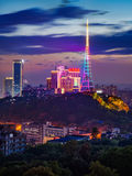 Ορίζοντας νύχτας πόλεων Chongqing στοκ εικόνα με δικαίωμα ελεύθερης χρήσης