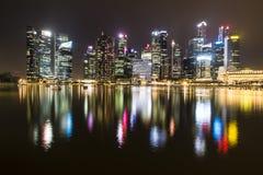 Ορίζοντας νύχτας της Σιγκαπούρης Στοκ Εικόνα