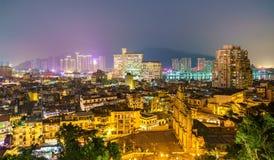 Ορίζοντας νύχτας του Μακάο με τις καταστροφές της εκκλησίας του ST Paul Κίνα στοκ φωτογραφία με δικαίωμα ελεύθερης χρήσης