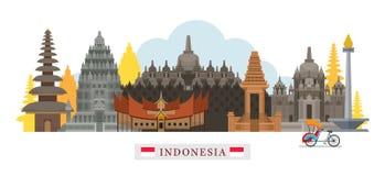 Ορίζοντας ορόσημων αρχιτεκτονικής της Ινδονησίας Στοκ Φωτογραφίες