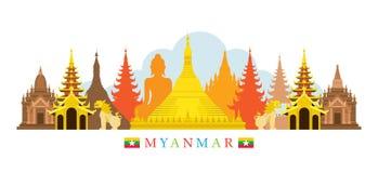 Ορίζοντας ορόσημων αρχιτεκτονικής του Μιανμάρ Στοκ φωτογραφίες με δικαίωμα ελεύθερης χρήσης